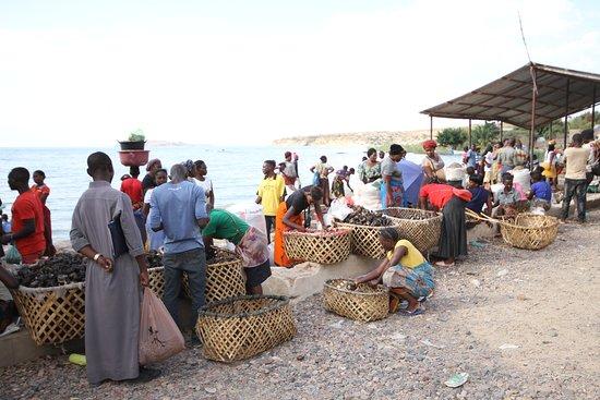 Mpulungu, Zambia: Targ rybny nad brzegiem jeziora Tanganika
