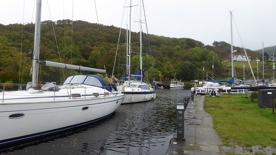 """Crinan harbour in front of """"Seafood bar"""""""