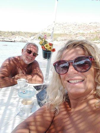 Nikolas Beach: Seated in the water at the beach bar for coffee.