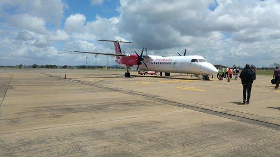 Jambojet plane flying from Mombasa to Nairobi
