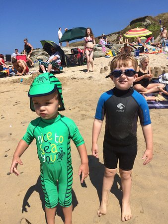 Gwithian Beach: Time for the two Cornish cousins to have their Pasty lunch.