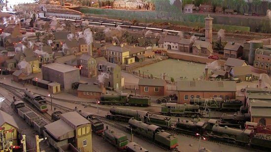 Lynmouth, UK: night lighting and smoke from chimneys at Lyn Model Railway