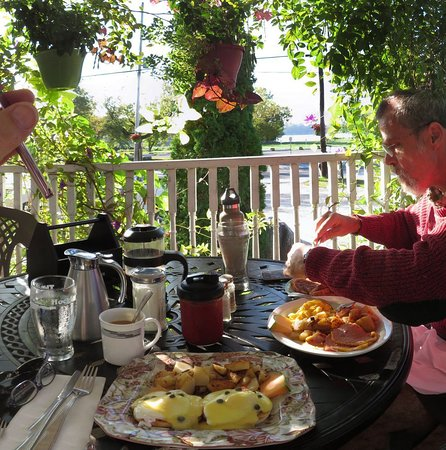 Breakfast on the porch, overlooking the Trent-Severn waterway, beside Buckhorn lock
