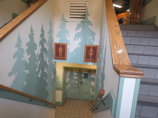 Banff Visitor Information Centre: Washrooms are downstairs