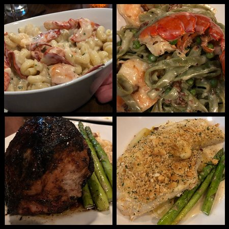 Center Harbor, NH: Clockwise from top left... Lobster Mac and cheese, carbonara, pork chop, haddock