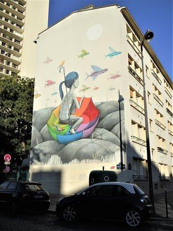 Fresque Fille au Parapluie
