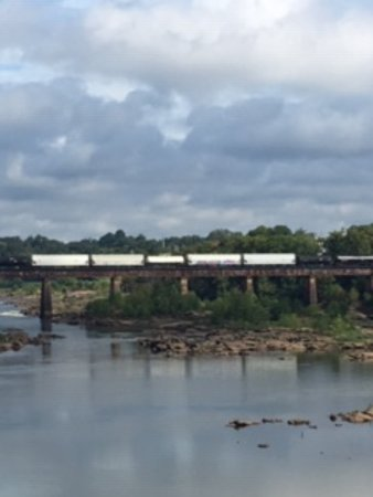 Columbus Riverwalk: Train tracks in the distance