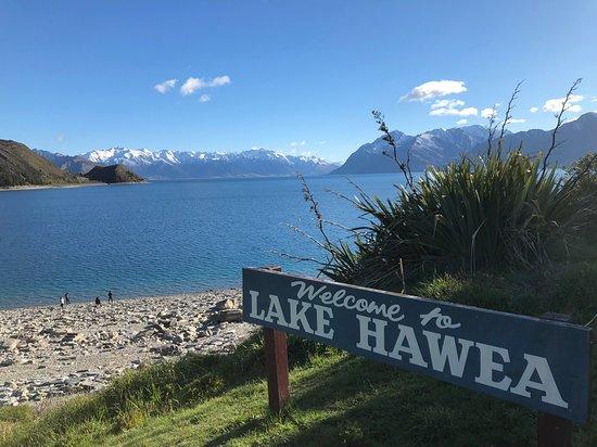 Lake Hawea with sign