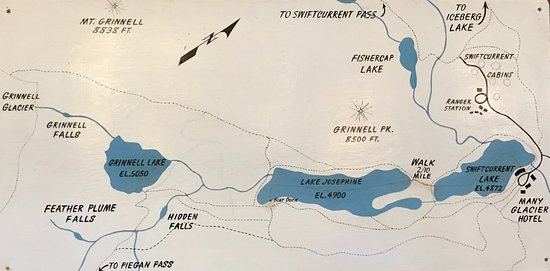 Map of the boat & hiking tour from Many Glacier Hotel - Picture of ...