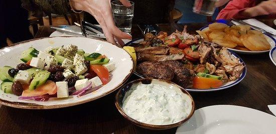 The ultimate combination. Meat feast, tzatziki, salad