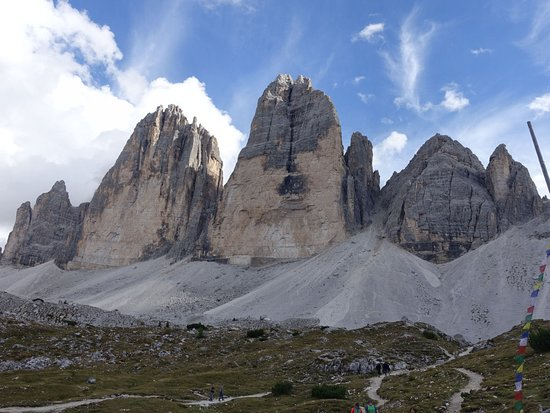 View of Tre Cime from Malga Langalm
