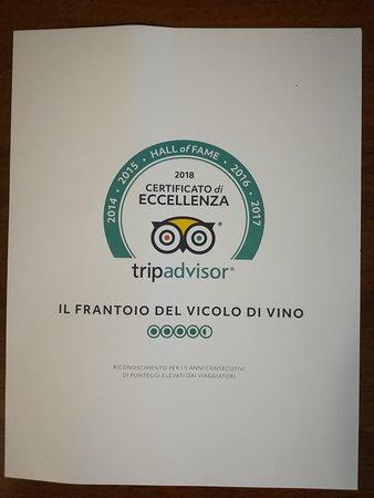 Il Frantoio Del Vicolo Divino: Quinto anno consecutivo che prendiamo l'attestato di eccellenza! In foto, il certificato della H
