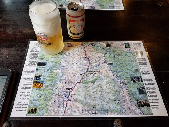 Iskut, แคนาดา: local map placemat - waiting on order at Tatogga Lake Lodge