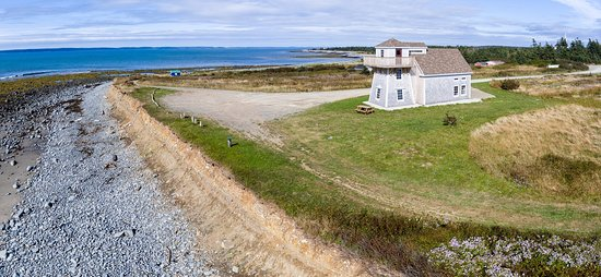 Church Point, Canada: Aerial of lighthouse and coastline