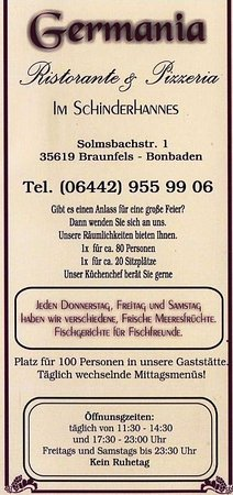 Braunfels, Germany: Speisenkarte