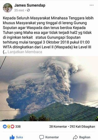 Langowan, Indonesia: soputan volcano erupted 3 october 2018 information