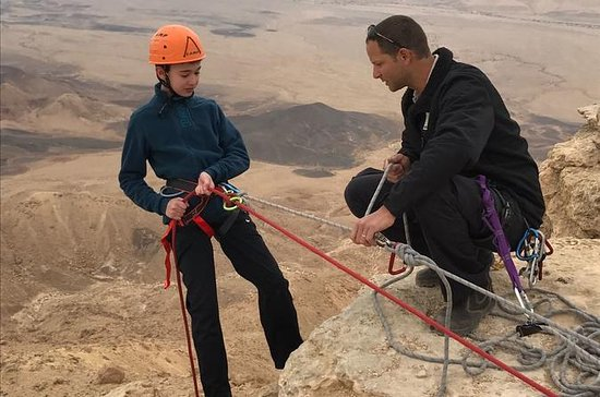 Rappelling in Mitzpe Ramon - off the rim of the Ramon Crater