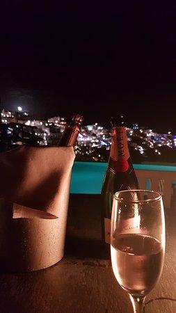 Honeymoon Petra Villas: View from the pool towards Thera