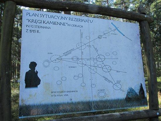 Pomerania Province, Poland: Plan sytuacyjny rezerwatu z podaniem namiarów astronomicznych