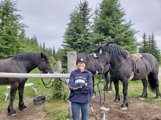 Anchor Point, AK: Little girl and Big horses!