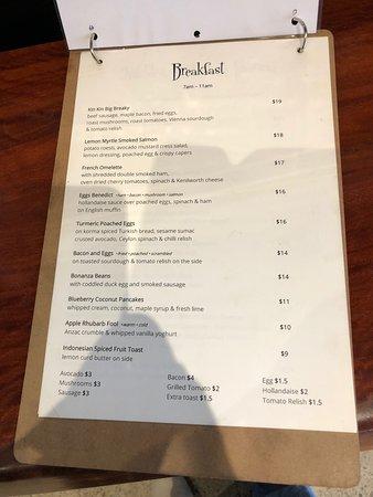 Kin Kin, Αυστραλία: menu