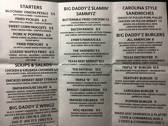 Big Daddyz Barbeque & Grill: menu