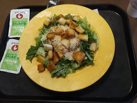 A Chicken Caesar Salad That Comes With Bacon Picture Of Zaxby S Walterboro Tripadvisor