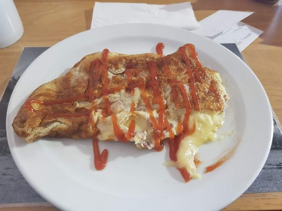 Old Romney, UK: bacon and cheese omellete