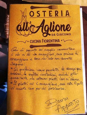 San Piero A Sieve, Italien: il menu glie' scritto a mano e le rime  le so' venute piano piano!