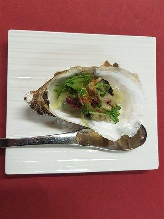 Belleme, Γαλλία: Amuse bouche salade huître a la gelée de citron
