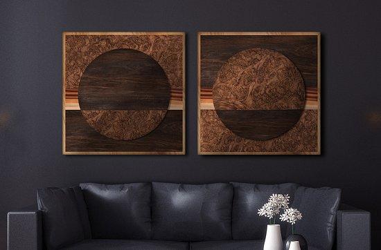 Sun Moon Contemporary Wood Wall Art
