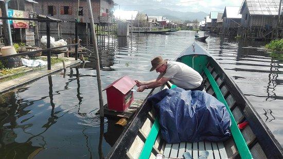Nampan, Myanmar: Mail a post card at fisherman's village
