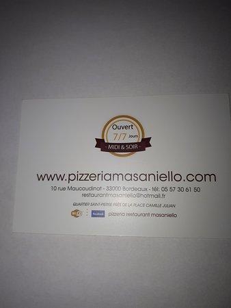 Pizzeria Ristorante Masaniello CARTE DE VISITE