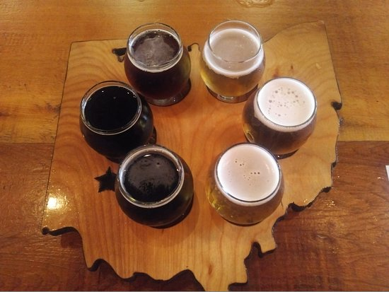 The Dayton Beer Company (Downtown): Flights of beer samples come on an Ohio-shaped tray.