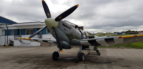 Biggin Hill, UK: This Spitfire was built in 1943 and saw a lot of action in WW2