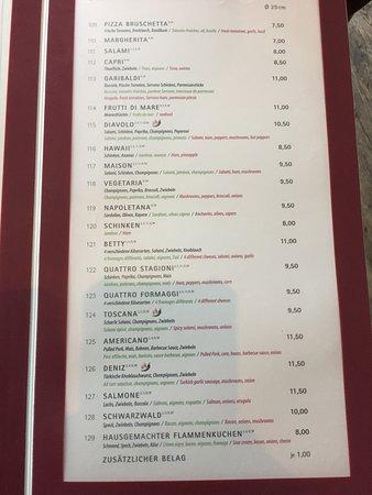 Beispiel Karte Und Preise Picture Of Pizzeria Ristorante