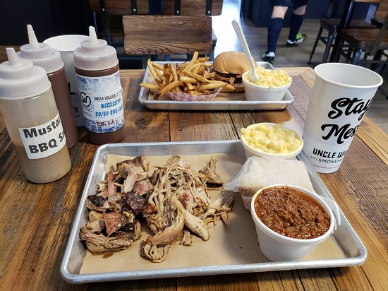 """West Haven, CT: Pulled pork and (cough) """"burnt ends."""""""