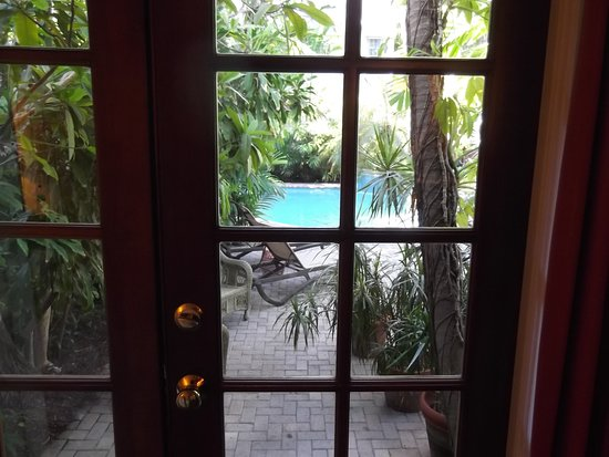 Tropical Inn: view of garden, patio & pool from Poinciana Patio room