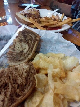 Dave's Cafe: Marble Rye patty melt and chips. Great. Husband had open face cheeseburger and rough cut fries.