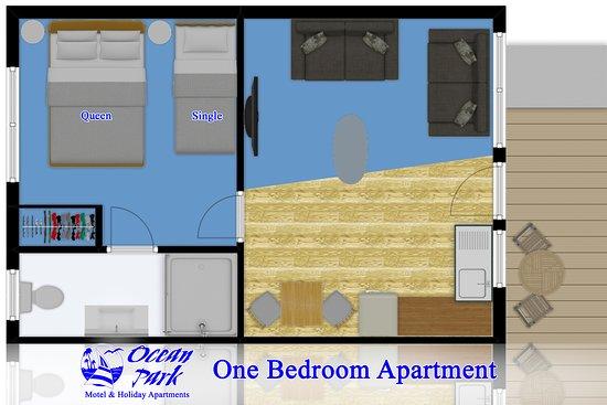 One Bedroom Apartment Floor Plan - Picture of Ocean Park ...