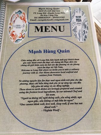 Long Hải, Việt Nam: Menu with address