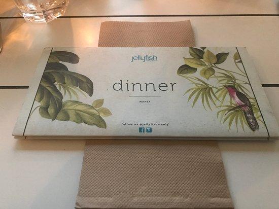 menu folded picture of jellyfish manly tripadvisor