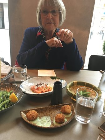 Valby, Denmark: Starters, Crab balls, endame beans and salmon.