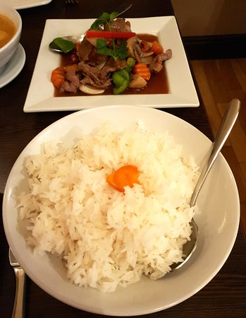 Culcheth, UK: Stir Fried Beef with Cashew Nuts, pictured with Rice