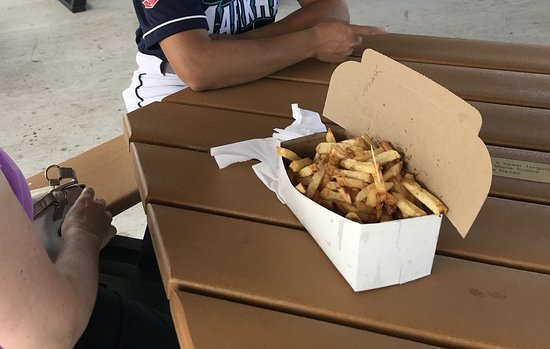 Point Edward, Canada: The Family Box of hot, fresh cut fries.