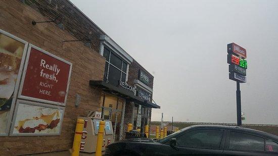 Vega, TX: Pilot Gas station across from a rundown Indian restaurant