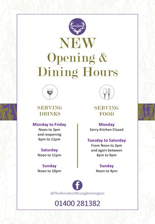 Long Bennington, UK: Our Fresh Opening and Dining hours,,,