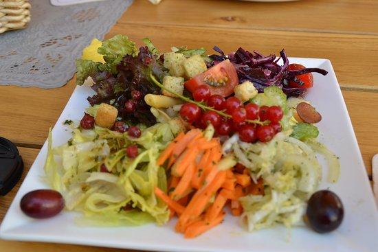 Ortenberg, Jerman: Sommersalat mit saisonalen Obst. Frisch und lecker.