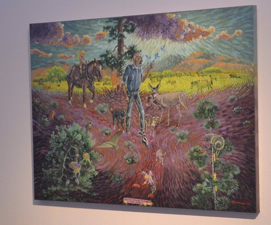 "Drummond, MT: ""All The Friends I've Known Had Souls"" is a self portrait with some of the many animals Bill lov"