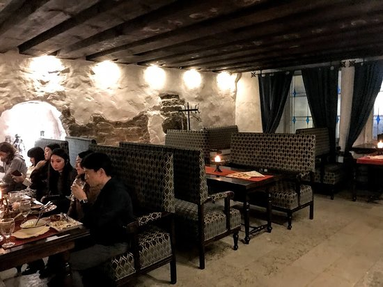 One of the upstairs dining rooms at Peppersack Restaurant